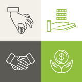 Vector finance and banking icons. And logos in outline style - payment and charity Royalty Free Stock Photos