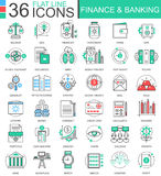 Vector Finance and banking modern color flat line outline icons for apps and web design. Royalty Free Stock Photography