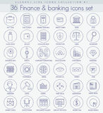 Vector Finance and Banking Outline icon set. Elegant thin line style design. Vector Finance and Banking Outline icon set. Elegant thin line style design Royalty Free Stock Photo