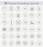 Vector Finance and Banking Outline icon set. Thin line style design. Stock Images