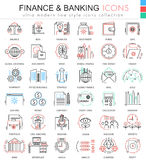 Vector finance and banking ultra modern color outline line icons for apps and web design. Finance money icons set. Royalty Free Stock Images