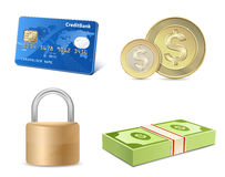 Vector finance icon set. Credit card, coins, banknotes, padlock Royalty Free Stock Image