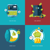 Vector finance and money icons set. Illustration for case of cash, safe deposit, bank vault and percentage earning Royalty Free Stock Photo