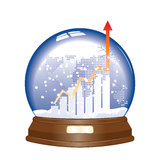 Vector financial. An illustration showing financial fluctuation in Glass snow globe Stock Images