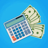 Vector financial icon in flat style. With money and calculator Stock Photo