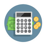 Vector financial icon in flat style with money and calculator. Financial icon in flat style with money and calculator Royalty Free Stock Photos