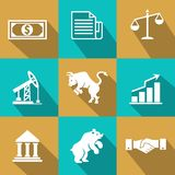 Vector financial icons in trendy flat style. With dollar bills  certificates  scales  oil and mining futures  industry  bear  bull  bar graph  chart   bank  and Stock Photography