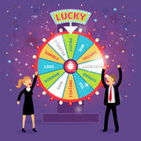 Vector financial wheel of fortune. Business. Concept. Chance and risk, gamble and profit, tax and gain, borrow and loss, disaster and capital Stock Image