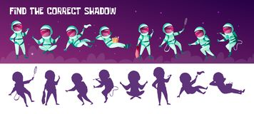 Vector correct shadow kid game with spacemen. Vector find the correct shadow education children game. Correct silhouette matching test for preschool kids Royalty Free Stock Photos