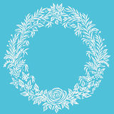 Vector fine floral round frame. Decorative element for invitations and cards. Border element. Vector Ink illustration Royalty Free Stock Image