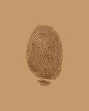 Vector finger print. On brown paper Stock Photo