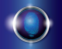 Vector finger print. On button Stock Photo
