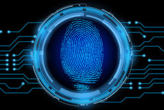 Vector finger print. On electronic circuit Royalty Free Stock Images