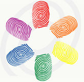 Vector finger prints. Vector illustration of  finger prints in various colors Stock Photography
