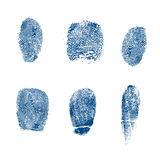 Vector finger prints police. Vector set of fingerprints stamps with blue ink just like a police identity schedule Royalty Free Stock Photos
