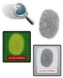 Vector fingerprint and biometrics. Vector fingerprint, magnifying and biometrics Stock Photo