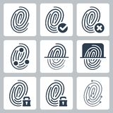 Vector fingerprint icons set. Vector isolated fingerprint icons set Stock Photography