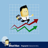 Vector of Fingerprint Man Characteristics Series. Business Man Stock Image