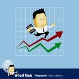 Vector of Fingerprint Man Characteristics Series. Business Man. Vector of Fingerprint Man Characteristics Series. A businessman running up rising financial chart Stock Image