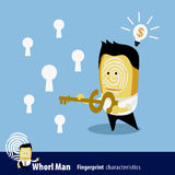 Vector of Fingerprint Man Characteristics Series. Business Man. & key Royalty Free Stock Image