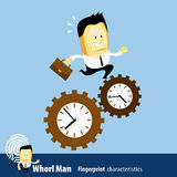 Vector of Fingerprint Man Characteristics Series. Business Man r. Unning against the time Stock Images