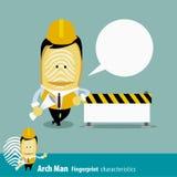Vector of Fingerprint Man Characteristics Series. Engineers with. Fingerprint Man Characteristics Series. Engineers with under construction. cartoon character Royalty Free Stock Image