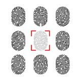 Vector fingerprint set. Finger print of human. Security crime sign icon. Human id.  Stock Photography