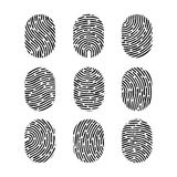 Vector fingerprint set. Finger print of human. Security crime sign icon. Human id.  Stock Images