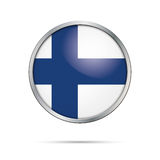 Vector Finnish flag Button. Finland flag in glass button style. Finland flag glass button style with metal frame Royalty Free Stock Image