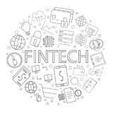 Vector Fintech pattern with word. Fintech background Stock Photos