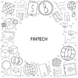 Vector fintech pattern with word. Fintech background Stock Image