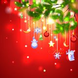 Vector fir branch with Christmas shiny decoration Royalty Free Stock Photo
