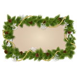 Vector Fir Frame with Decorations Royalty Free Stock Photo