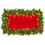 Vector Fir Frame with Garland Royalty Free Stock Photo