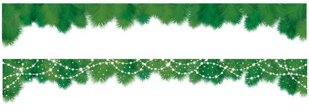 Vector  fir tree borders. Vector  fir tree border and decorations isolated Stock Photo