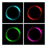 Different color fire circles on black background. Fire ring glowing trace set. Vector fire blue, red, green and pink. Vector fire blue, red, green and pink Stock Photography