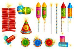 Vector Fire Cracker. Vector illustration of collection of colorful fire cracker Stock Image