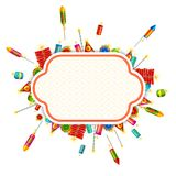 Vector Fire Cracker. Vector illustration of colorful fire cracker around blank space Royalty Free Stock Photos