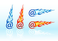 Vector fire e-mails. Set of vector colored fire e-mails Royalty Free Stock Photo