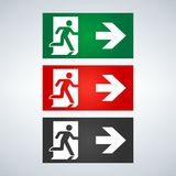 Vector fire emergency icons. Signs of evacuations. Fire emergency exit in green and red. Exit signs. Emergency fire symbols for evacuation plan Stock Photo