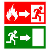 Vector fire exit signs. Set Royalty Free Stock Image