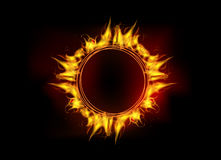 Vector fire flame circle. Vector illustration of burning fire flame circle on black dark background Royalty Free Stock Images