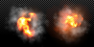 Vector fire flame explosion effect on black background. Vector fire explosion effect on black background. Flame blast burst with smoke Stock Image