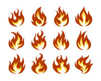 Vector Fire Flame Icon Set in Flat Style. Isolated on White Background Stock Images