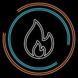 Vector fire flames sign illustration isolated. Fire icon. Thin line pictogram - outline stroke stock illustration
