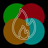 Vector fire flames sign illustration isolated. Fire icon. Thin line pictogram - outline editable stroke stock illustration
