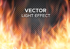 Vector fire flames on transparent background. Burning fire flames on transparent background. Vector special light effect Royalty Free Stock Images