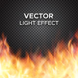 Vector fire flames on transparent background. Burning fire flames on transparent background. Vector special light effect Stock Photo