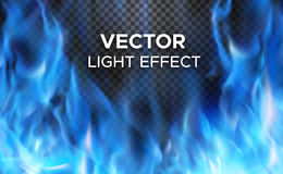 Vector fire flames on transparent background. Burning fire flames on transparent background. Vector special light effect Stock Photography