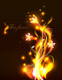 Vector fire flowers. Vector background with beautiful flowers as fire flames, eps 10 royalty free illustration